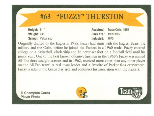 Packers Hall of Fame player Fuzzy Thurston