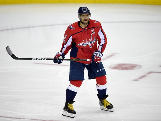 Washington Capitals left wing Alex Ovechkin (8), of