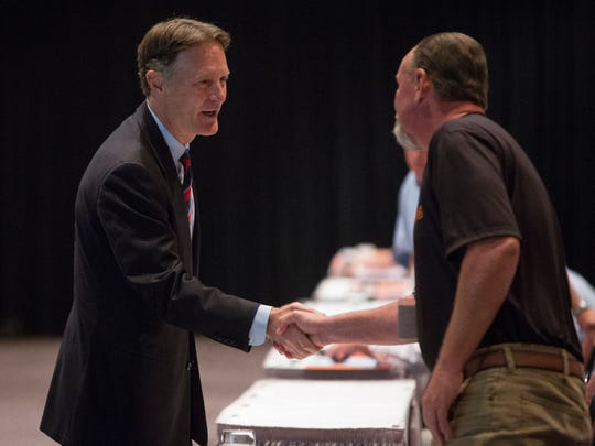 Evan Bayh meets with members of the Indiana State Building and Construction Trades Council Tuesday afternoon at the Horizon Convention Center. A new poll released shows Democrat Evan Bayh leading Congressman Todd Young in the U.S. Senate race.