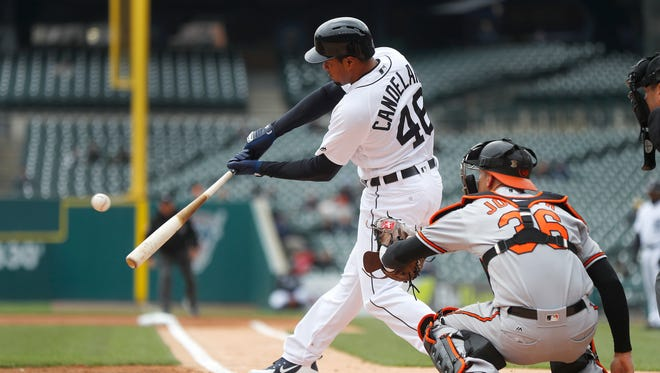 Tigers third baseman Jeimer Candelario singles against the Orioles in the first inning on Wednesday, April 18, 2018, at Comerica Park.