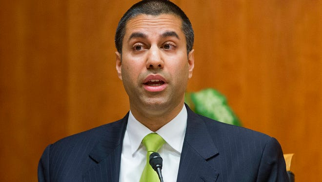 In this Feb. 26, 2015, file photo, Federal Communication Commission Commissioner Ajit Pai speaks during an open hearing and vote on net neutrality in Washington.
