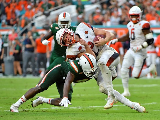 NCAA Football: Syracuse at Miami
