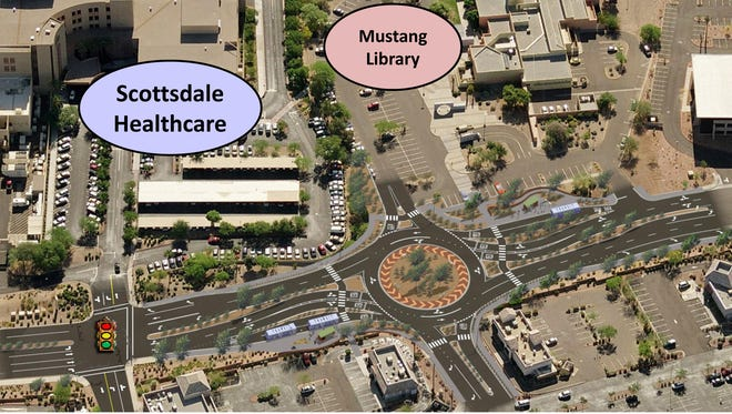 The city plans to build a roundabout at the entrance to Mustang Library to serve traffic using the shopping area.