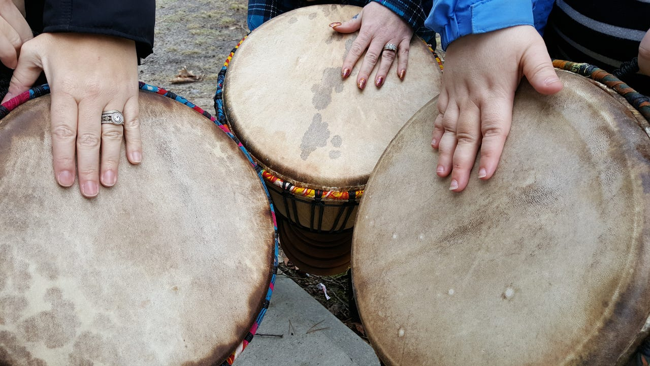 One of the programs offered to patients at Hudson Health Services in Salisbury, Drumming off Drugs, uses African drums to improve their focus and ability to follow directions.