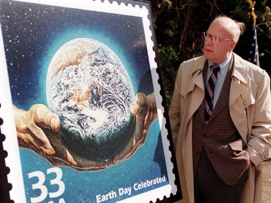 Former Wisconsin Sen. Gaylord Nelson takes part in the Earth Day stamp unveiling in 1999 in Washington.