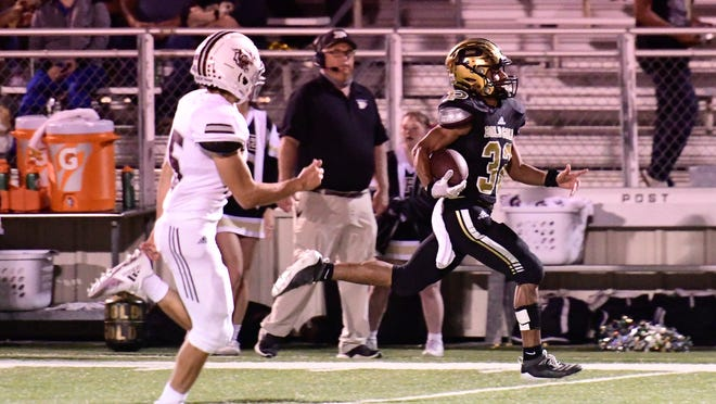 Post's Ashton Jefferson (32) returns a kick for a touchdown against Littlefield on Friday, Sept. 11, 2020, at Jimmie Redman Memorial Stadium in Post, Texas.