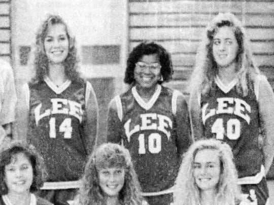 Shannon Patler, far right top, was a strong athlete for Robert E. Lee High School in the late 1980s.