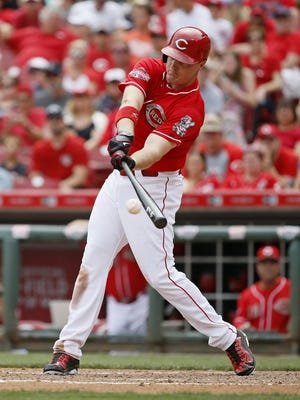 Reds right fielder Jay Bruce singles up the middle during the bottom of the seventh inning.