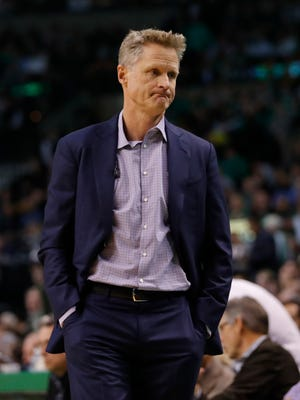 Golden State Warriors head coach Steve Kerr watches from the sideline as they take on the Boston Celtics in the second half at TD Garden.