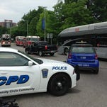The scene of an RTA bus crash on Euclid at East.