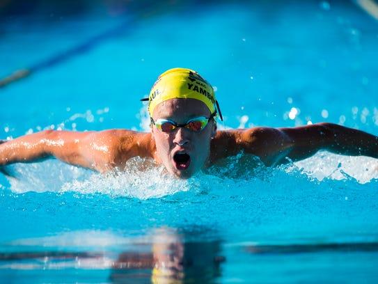 Chiles' John Yambor-Maul swims the butterfly.