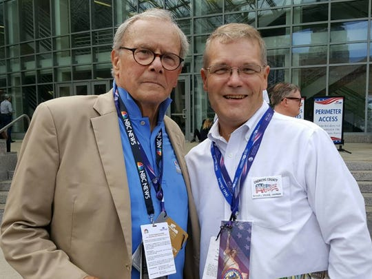 Chemung County Republican Chairman Rodney Strange, right, poses with NBC News veteran Tom Brokaw at this week's Republican National Convention in Cleveland.