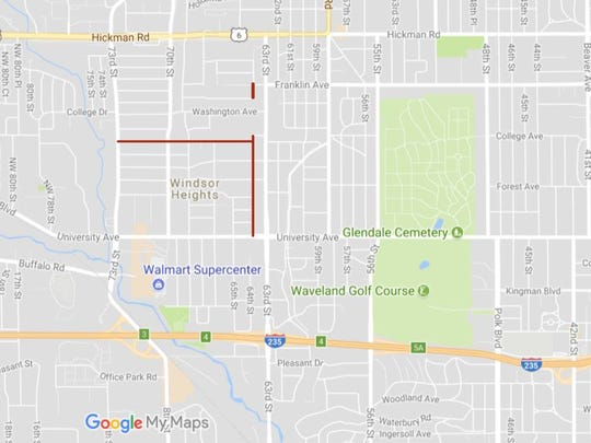 A map showing where new sidewalks are being installed in Windsor Heights under a 'safe routes to schools' plan.
