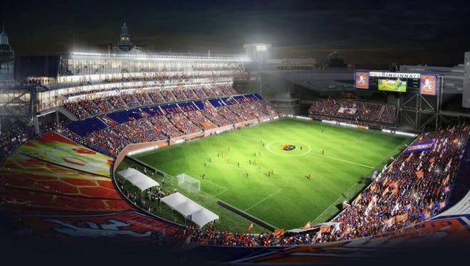 A rendering of Nippert Stadium showing the logo of the new Cincinnati soccer team