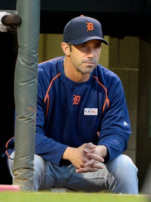 May 14, 2016; Baltimore, MD, USA;  Detroit Tigers manager Brad Ausmus (7) sitting in the dugout during the third inning against the Baltimore Orioles at Oriole Park at Camden Yards.