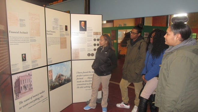 Paterson high school students view New York Historical Society exhibit on Alexander Hamilton being shown at Paterson Museum