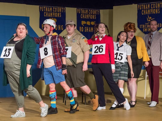 "Ali Malingen, left, Henry Ralston, Braden Cox, Gracie Dodson, Elyse Reveles, Karen Burley, Ryan Turner and Samuel  Walls rehearse for Encore Theatre's production of ""The 25th Annual Putnam County Spelling Bee"" on Monday, January 22, 2018."