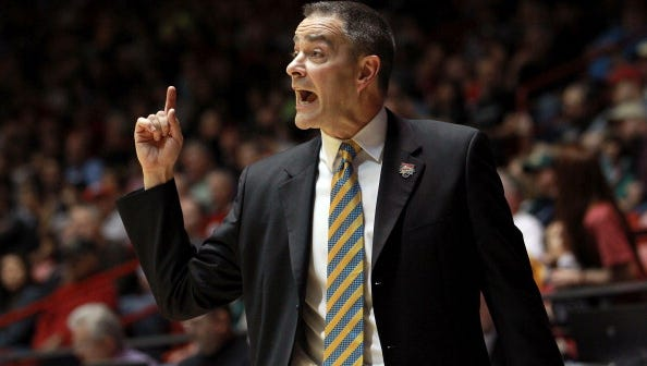 ALBUQUERQUE, NM - MARCH 15: head coach Scott Nagy of the South Dakota State Jackrabbits gestures from the sidelines during the first half against the Baylor Bears during the second round of the 2012 NCAA Men's Basketball Tournament at The Pit on March 15, 2012 in Albuquerque, New Mexico.  (Photo by Ronald Martinez/Getty Images)