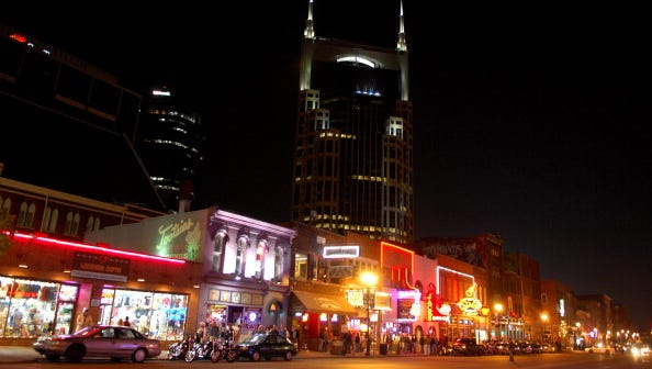 Nashville, TN, USA; General view of the downtown Nashville skyline from Broadway Ave. (Photo by Kirby Lee/US PRESSWIRE)