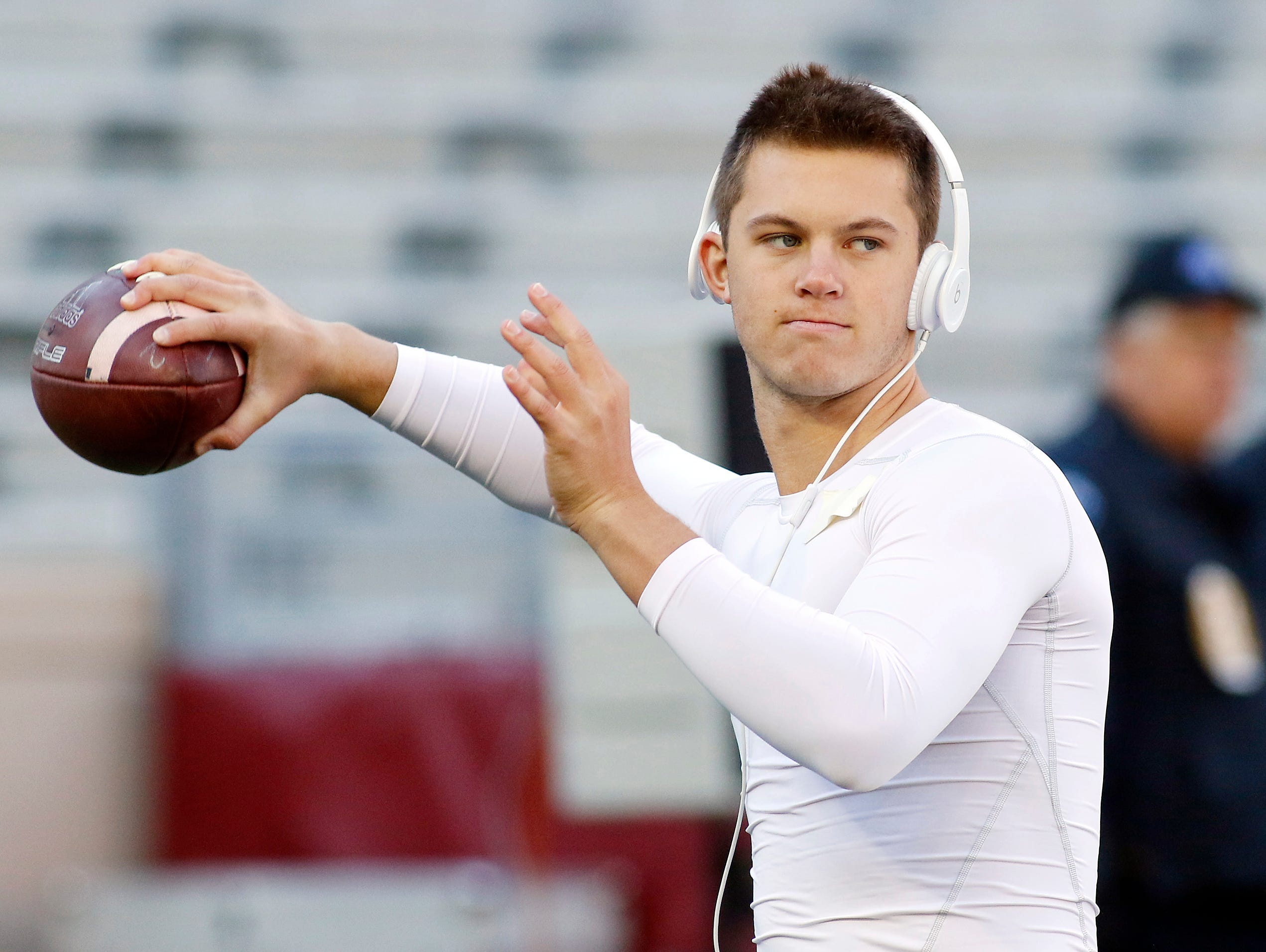 Texas A&M Aggies quarterback Kyle Allen warms up for a game against the Louisiana Monroe Warhawks at Kyle Field on Nov. 1, 2014.