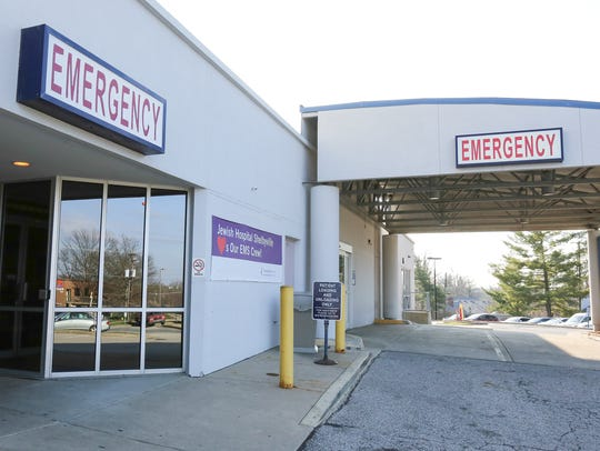 Emergency room entrance at Jewish Hospital in Shelbyville,