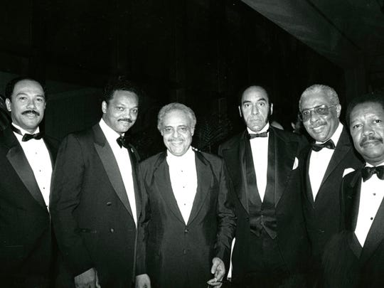 Jesse Jackson (second from left),  Dr. Benjamin Hooks,