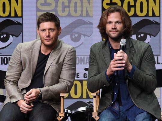 Jensen Ackles, left, and Jared Padalecki speak at the
