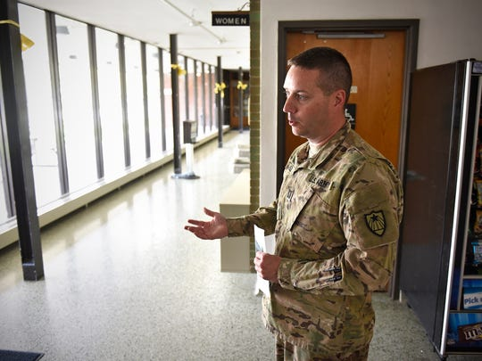 Capt. Pat Foley talks Tuesday, May 10, about proposed improvements to the St. Cloud Armory. Several updates for the 55-year-old facilty are planned if the Legislature approves a bonding request for the building.