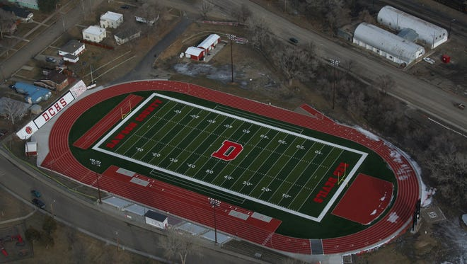 The Oakland Athletic Complex at Perham Field in Glendive, Mont., features the only post-tension track in Montana and an artificial turf football field.