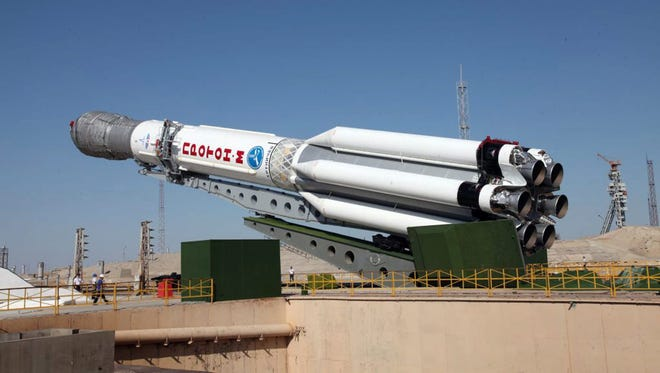A Russian Proton-M launch vehicle with three Glonass-M satellites onboard is seen on the launch pad in 2013.