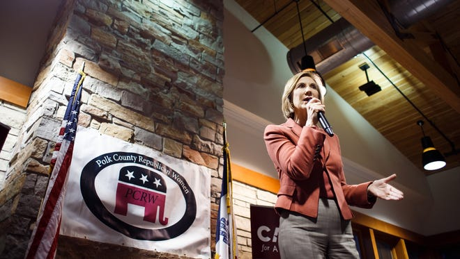 Republican Presidential Candidate Carly Fiorina speaks during the Polk County Republican Women's Chili Dinner Fall Fundraiser in Windsor Heights on Thursday, October 15, 2015.