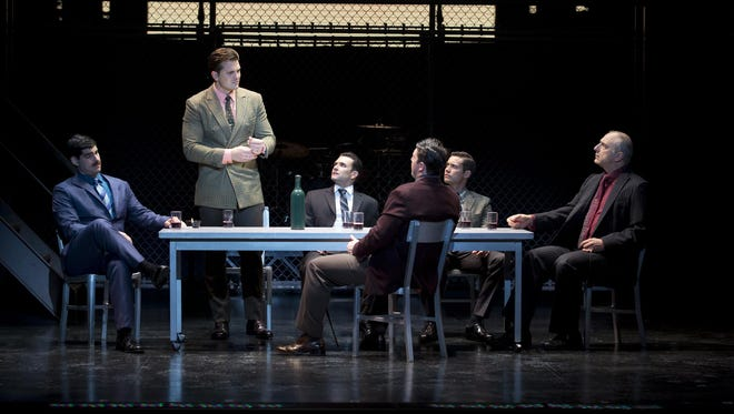(From left) : Dru Serkes (as Norm Waxman), Keith Hines (as Nick Massi), Aaron De Jesus (as Frankie Valli), Matthew Dailey (as Tommy DeVito), Drew Seeley (as Bob Gaudio) and Thomas Fiscella (as Gyp DeCarlo) discuss the growing threat that could destroy the Four Seasons' hard-earned success.