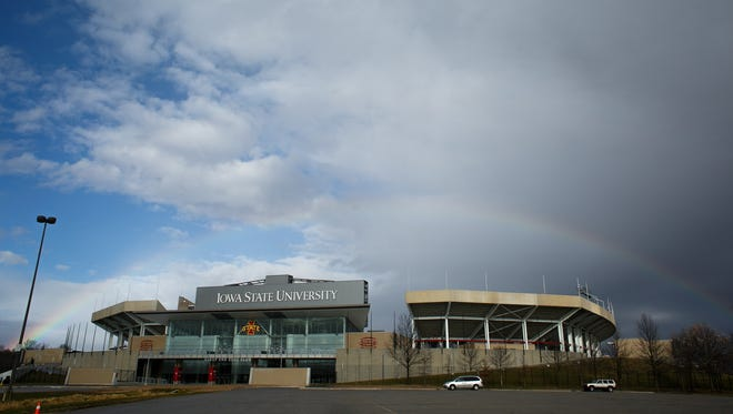 A rainbow appears over Jack Trice Stadium on Thursday, December 10, 2015 in Ames.
