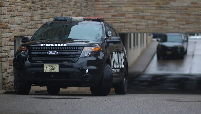 A Stevens Point police vehicle at the Stevens Point Police Department, Wednesday, April 6, 2016.