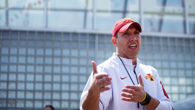 Iowa State coach Matt Campbell talks to people tailgating before the ISU football team's spring game on Saturday.