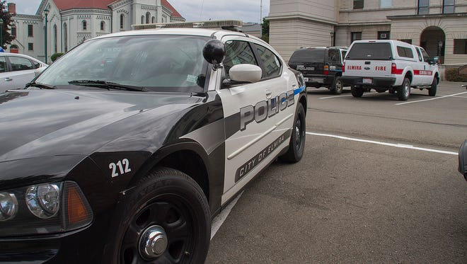 An Elmira police car in the parking lot at City Hall in Elmira.
