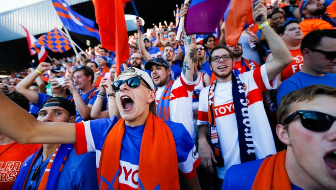 FC Cincinnati fans cheer during a July 16 match against Crystal Palace of the English Premier League.