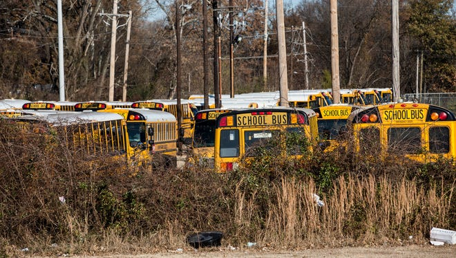 December 22, 2016 - Durham School Services school buses are seen at a depot at 1681 Getwell.