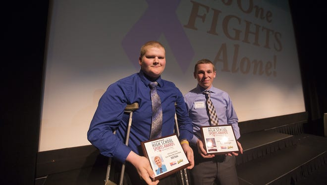 Will Maki, left, and Ryan Dieringer, share the stage during the USA TODAY NETWORK-Wisconsin High School Sports Awards last May. The two boys were the 'Story of the year.'