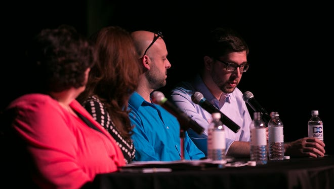Moderator Justin Murphy, education reporter at the Democrat & Chronicle, speaks at a community forum on teen suicide prevention at the Jewish Community Center in Brighton on May 24, 2017.