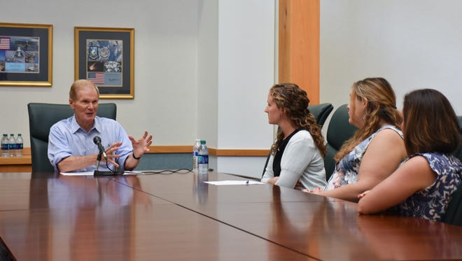 Sen. Bill Nelson talks on Friday, July 14, 2017, to students at the University of West Florida about his proposed legislation to cap student loan interest rates.