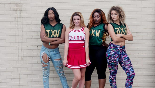 """Toryn Brown, left, Kailey Madison, Miracle Ham and Sasha Siclait in Circle Players' production of """"Bring It On."""""""