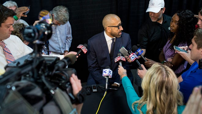 September 25, 2017 - David Fizdale, head coach for the Memphis Grizzlies, speaks to reporters during the Grizzlies' media day at the FedExForum.