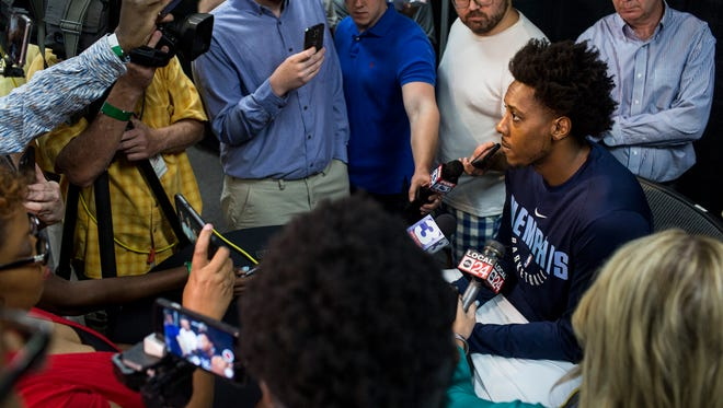 September 25, 2017 - Mario Chalmers speaks with reporters during the Grizzlies' media day at the FedExForum.