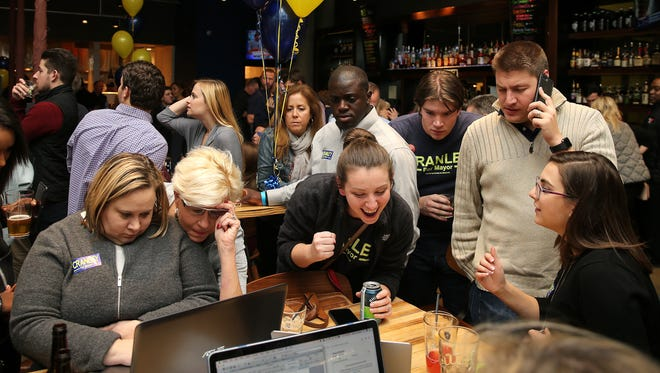 From left: Cincinnati Mayor John Cranley's campaign manager Chandra Yungbluth, communications director Brook Hill and field director Jessica Baker, center, react to campaign result, Tuesday, Nov. 7, 2017, at Americano Burger Bar in downtown Cincinnati.