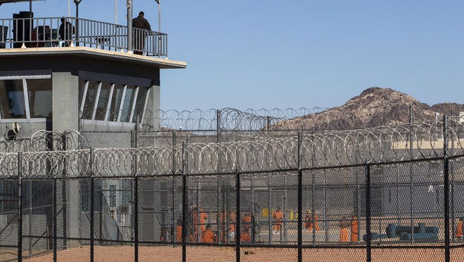 A homemade aerial drone carrying drugs and cellphones flew over Arizona State Prison Complex-Lewis in Buckeye, Ariz., and crashed Sept. 24, 2017, in a security zone inaccessible to inmates.