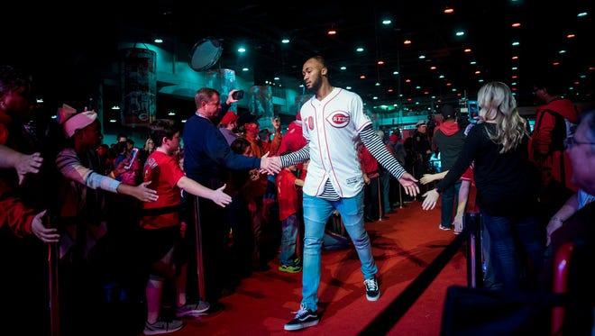 Cincinnati Reds pitcher Amir Garrett (50) greets fans at Redsfest at the Duke Energy Convention Center in downtown Cincinnati Friday, December 1, 2017.