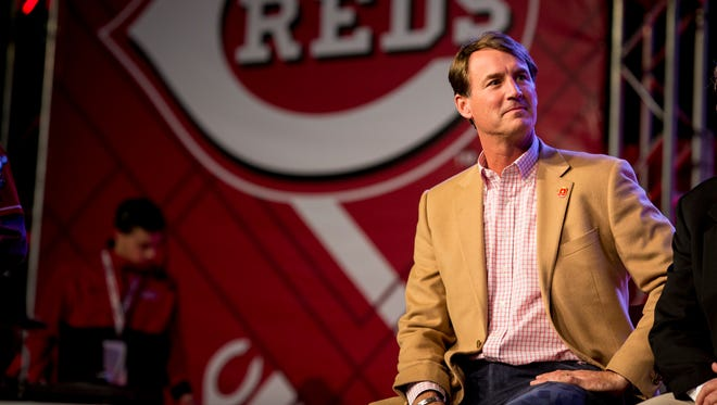Cincinnati Reds general manager Dick Williams sits on the main stage of Redsfest for the player awards at the Duke Energy Convention Center in downtown Cincinnati Friday, December 1, 2017.