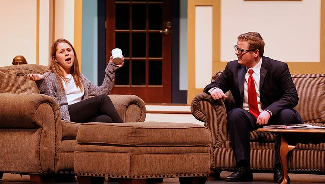 """Students of Fond du lac High School practice the play """"Stage Door"""" on Wednesday, Jan. 24, 2018. Pictured are, from left: Olivia Rose Wall playing Terry and Parker Hambrick playing David Kingsley."""