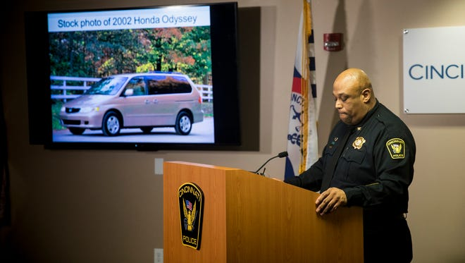 Cincinnati Police Chief Eliot Isaac speaks to reporters about the death of 16-year-old Kyle Plush Thursday, April 12, 2018 during a news conference at the Criminal Investigation Section conference room. He showed a stock image of a 2002 Honda Odyssey, which was the same make, model and generation of Kyle Plush's vehicle.